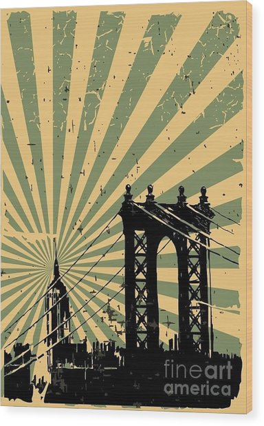 Grunge Image Of New York, Poster, Vector Wood Print