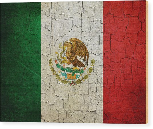 Grunge Mexico Flag Wood Print
