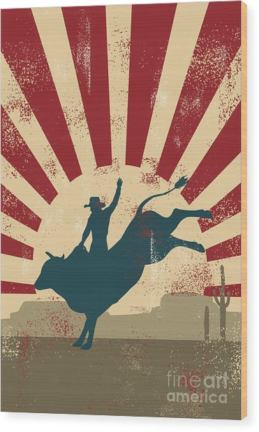 Grunge Rodeo Poster,vector Wood Print