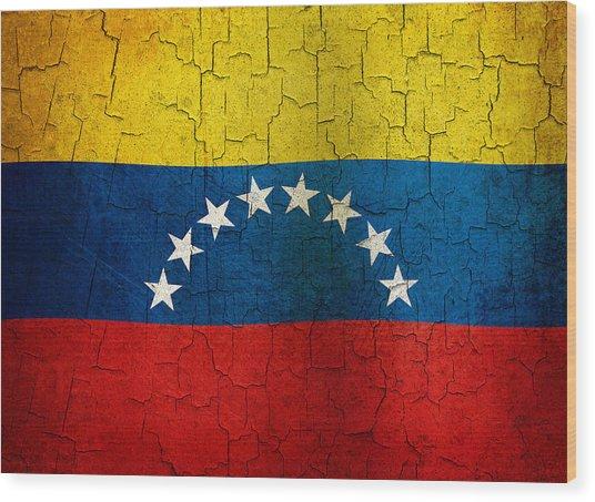 Grunge Venezuela Flag Wood Print