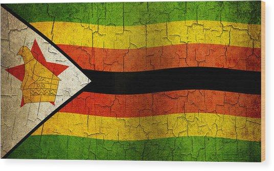 Grunge Zimbabwe Flag Wood Print