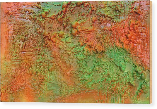 Orange Abstract New Media  Wood Print