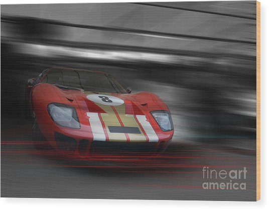 Gt40 Red Wood Print by Roger Lighterness