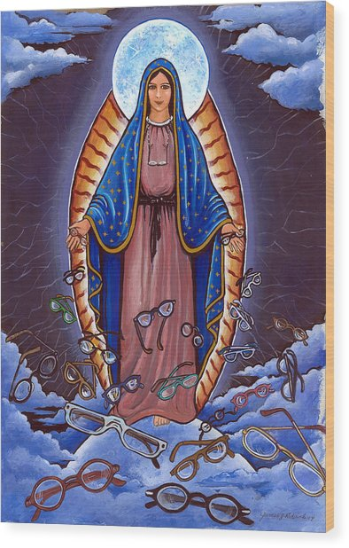 Guadalupe With Glasses Wood Print