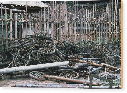Guangzhou Tires Wood Print by Scott Shaw