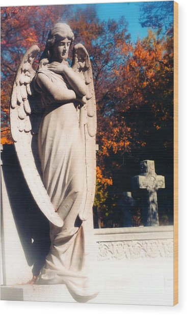Guardian Angel Statue With Cemetery Cross Wood Print by Kathy Fornal