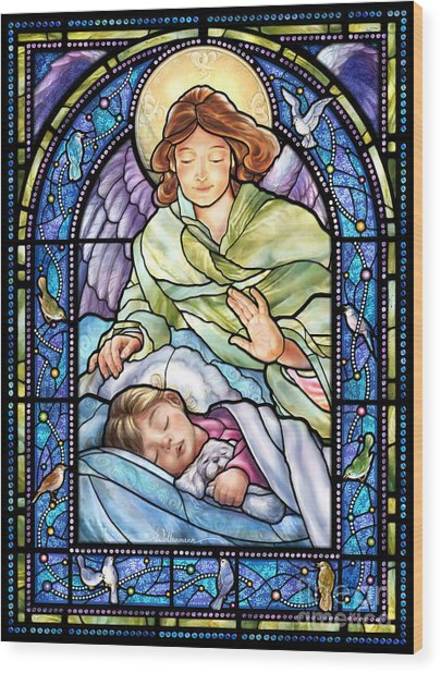 Guardian Angel With Sleeping Girl Wood Print