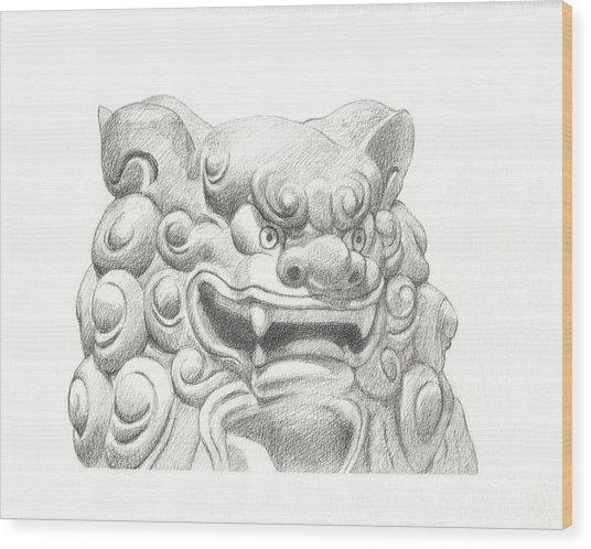 Guardian Lion Wood Print