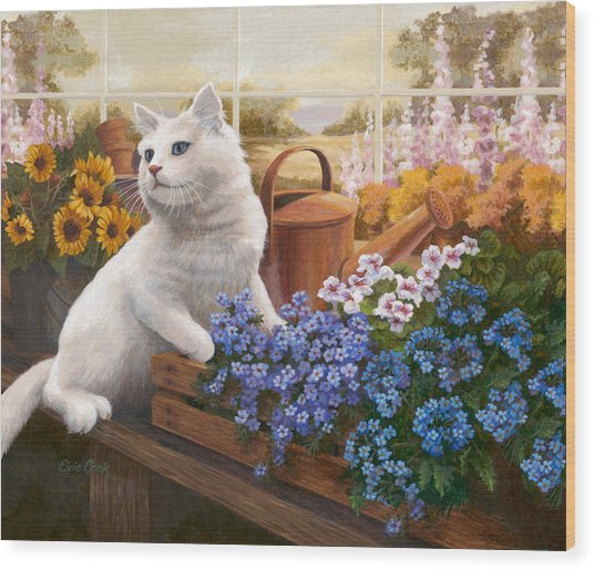 Guardian Of The Greenhouse Wood Print