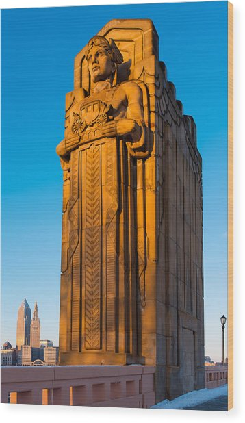 Guardian Towering Over Cleveland Wood Print