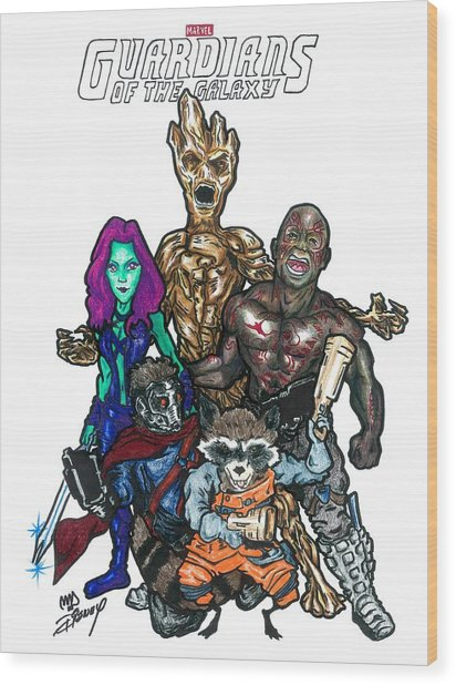 Guardians Of The Galaxy Wood Print