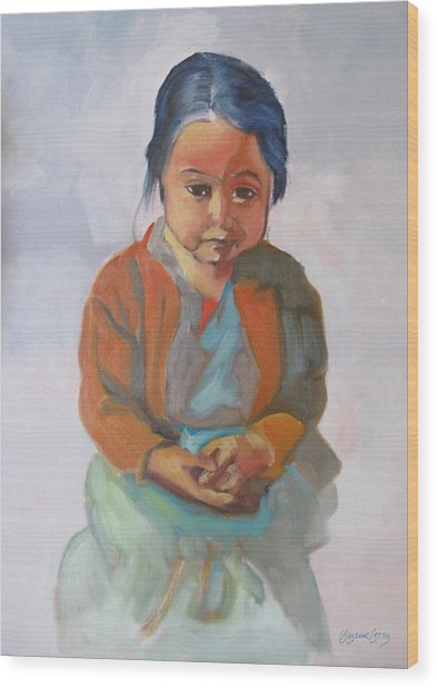 Guatemalan Girl With Folded Hands Wood Print