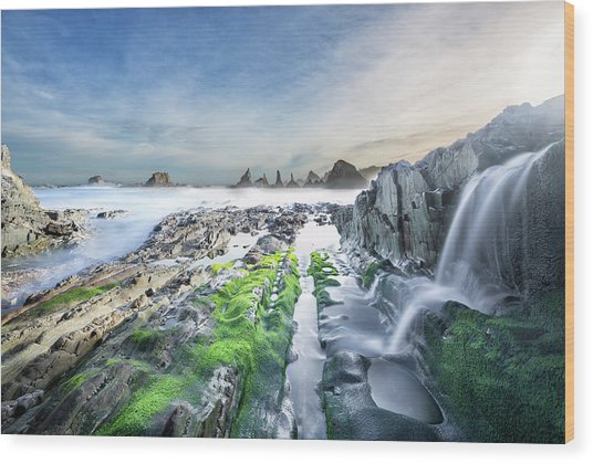 Gueirua Beach, Cudillero, Asturias Wood Print by Dietermeyrl