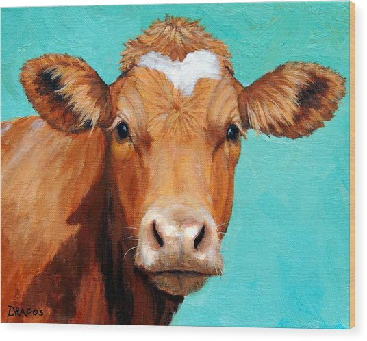 Guernsey Cow On Light Teal No Horns Wood Print