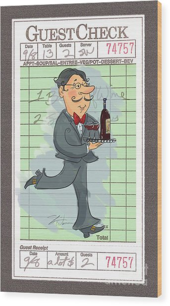 Guest Check Waiter Wood Print