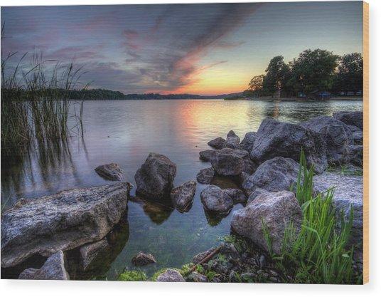 Guilford Lake Sunset Wood Print