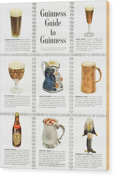 Guinness Guide To Guinness Wood Print