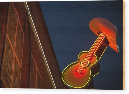Guitar And Hat Wood Print