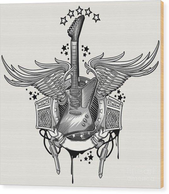 Guitar Emblem Wood Print by Alex bond
