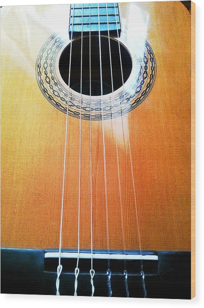 Guitar In The Light Wood Print