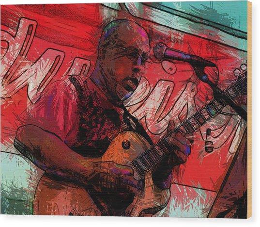 Guitar Jazz Player Wood Print