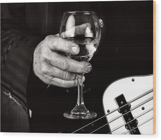 Guitar Player And A Glass Of Wine Wood Print