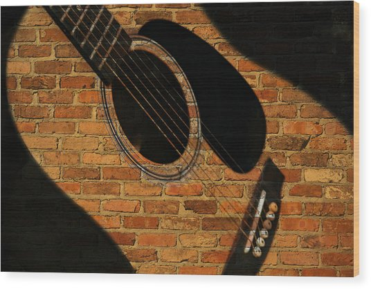 Guitar Shadow Wood Print
