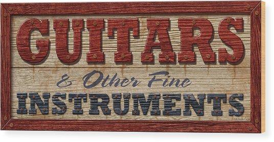 Guitar Sign Wood Print