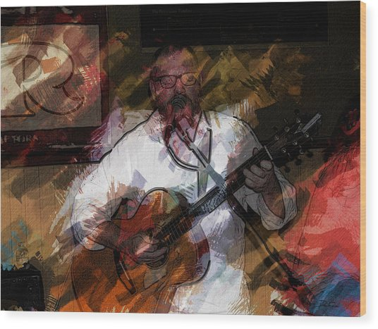 Guitar Singer Wood Print