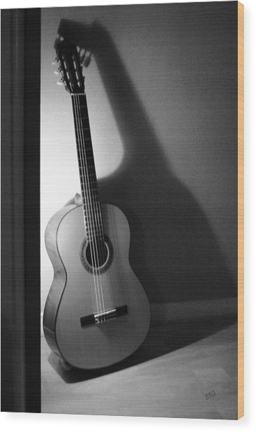 Guitar Still Life In Black And White Wood Print