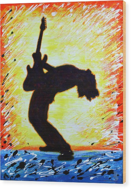 Guitarist Rockin' Out Silhouette Wood Print