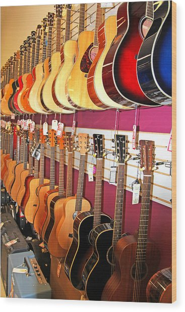 Guitars For Sale Wood Print