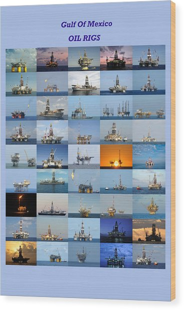 Gulf Of Mexico Oil Rigs Poster Wood Print