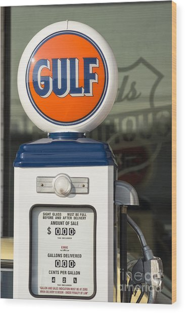 Gulf Oil Gas Pump Wood Print