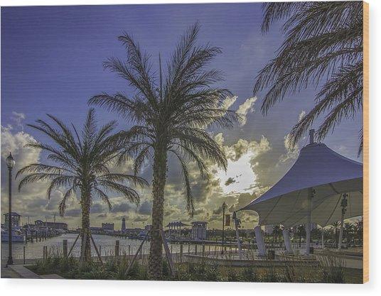 Gulfport Harbor View Wood Print