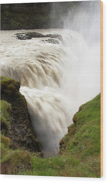 Gullfoss Golden Waterfall On River Wood Print by Martin Moos