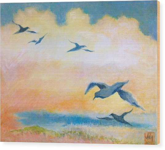 Gulls At Sunset Wood Print by Julia Miller