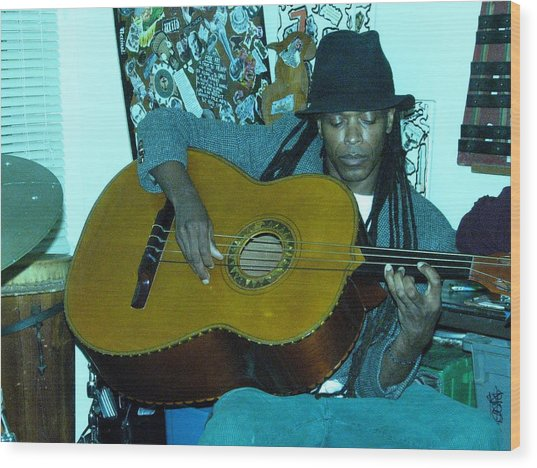 Gully Guitar And Black Hat  Wood Print by Cleaster Cotton