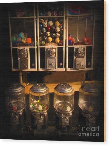 Gumball Memories - Row Of Antique Vintage Vending Machines - Iconic New York City Wood Print