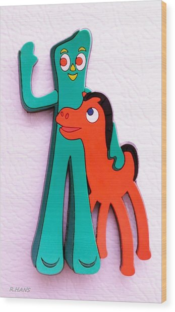 Gumby And Pokey B F F Wood Print