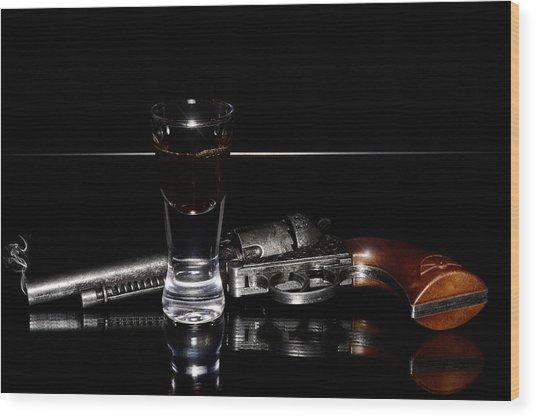 Gun With Smoke Wood Print