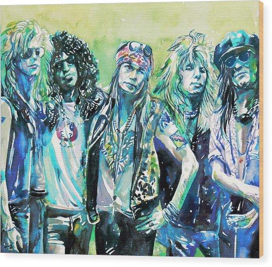 Guns N' Roses - Watercolor Portrait Wood Print