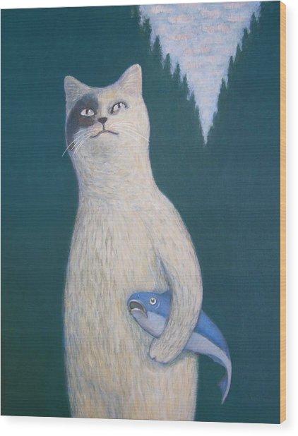 Gunter And His Pet Fish Klaus Wood Print