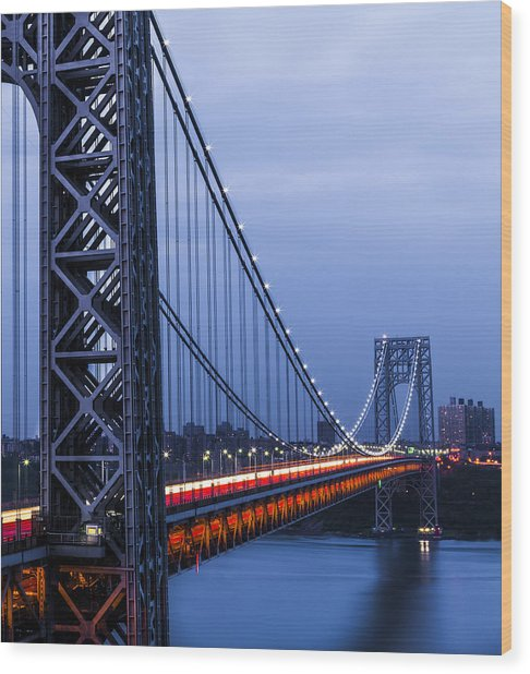 Gwb From Fort Lee Wood Print by Chris Halford
