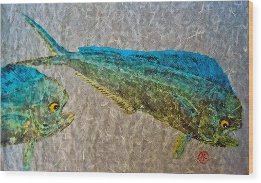 Gyotaku - Mahi Mahi - Dorado - Dolphinfish Wood Print