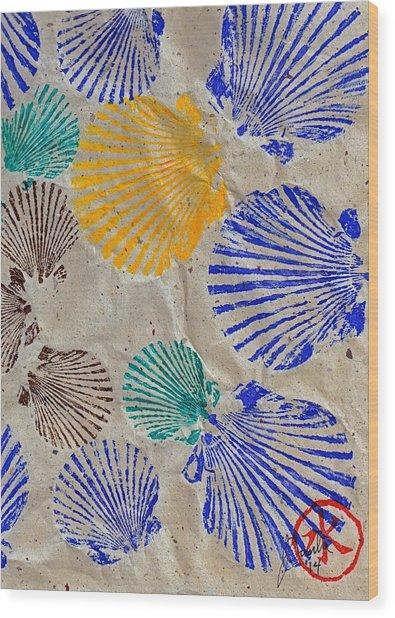 Gyotaku Scallops - Shellfish Apetite Sushi Wood Print