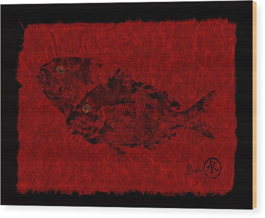 Gyotaku Scup Series 2  Red Unryu Paper Wood Print