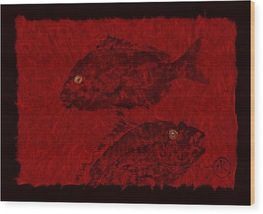 Gyotaku Scup Series 4 Red Unryu Paper Wood Print