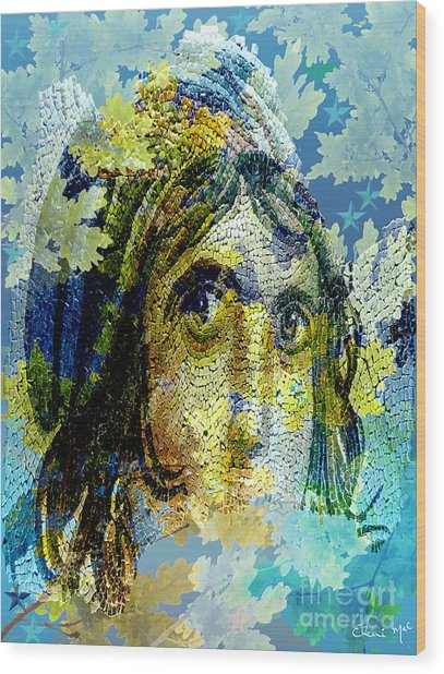 Gypsy Girl Mosaic Wood Print