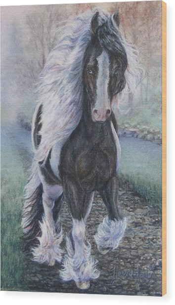 Foggy Morning Stroll Gypsy Horse  Wood Print